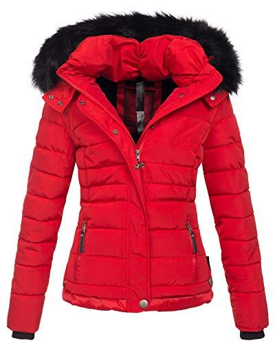 Navahoo warme Damen Winter Jacke Parka Mantel Stepp Kurzjacke gefüttert B301 (XXL, Rot)