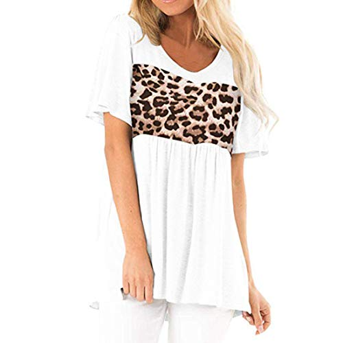 Tshirt Damen Kurzarm T-Shirt top Rundhals Leopard Spleißen Falten Oberteil Casual Lose Komfortabel Weiches Mode Streetwear Sommer All-Match Shirt Sport Shirt L