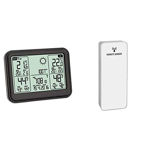 TFA Dostmann MEMO Funkwetterstation Kat.-Nr. 35.1141.01 übersichtliches Display erweiterbar auf 3 Sender & TFA 30.3215.02–Temperatur- und Feuchtigkeitssensor