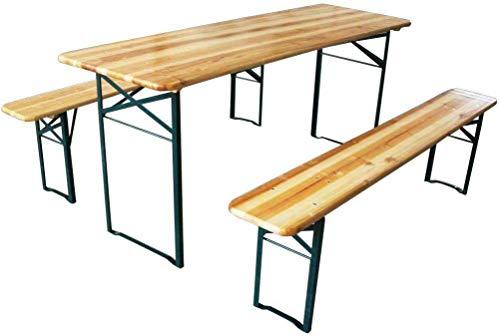 AVANTI TRENDSTORE - Luma - Set birreria per l'esterno in legno massiccio laccato, ideale per festeggiare nel proprio giardino. Dimensioni tavolo: 180x76x60 cm, panchine: 180x46x25 cm (senza schienale)