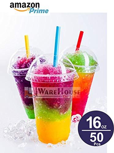 50 vasos para batidos de 16 onzas con tapas de cúpula, vasos de plástico transparente con tapas de cúpula de 16 onzas, para zumo, bebidas, batido, dulces, helado y muchos más (16 oz)