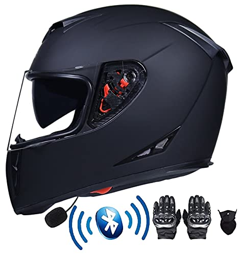 Tbagem-Yjr Casco de la Bicicleta de montaña de la Cara Completa Bluetooth Motorcycle Casco Cascos Cascos con visores Anti-Niebla a Prueba de Lluvia ECE Aprobado S-XXL Agregar Accesorios