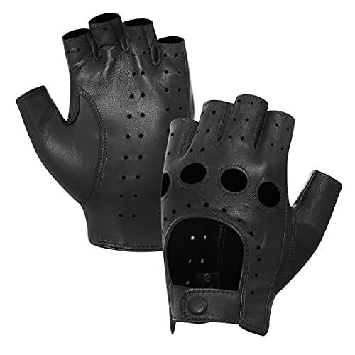 Harssidanzar mujer piel de oveja guantes de conducción de cuero sin dedos dedo medio forrado GL012,Negro,talla L