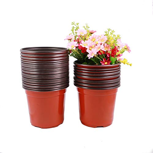 TRUEDAYS 6 Inch Plastic Flower Seedlings Nursery Supplies Planter Pot/pots Containers,40 Pack