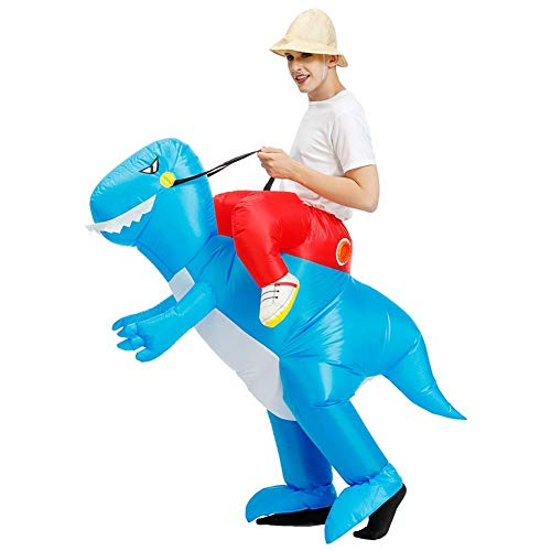Ride op dinosaurus kostuum opblaasbaar opblaasbaar pak cosplay rekwisieten voor Halloween-party Erwachsene blauw