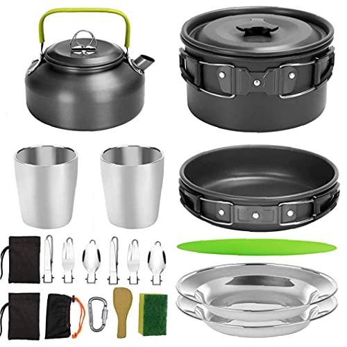 20 Stks Camping Pannenset Draagbare Picknickkachel Set Lichtgewicht Uitrusting Voor 2 Tot 3 Personen Reizen Wandelen Kamperen Zwart Black