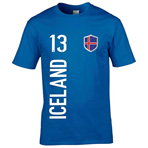 FanShirts4u Kinder Fanshirt Trikot Jersey Island Iceland T-Shirt inkl. Druck Wunschname u. Wunschnummer EM WM (12/14 Jahre 152-164 cm, Iceland/Blau)