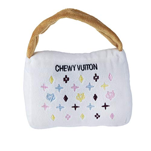 Haute Diggity Dog Chewy Vuiton Purse Toy (White) Large