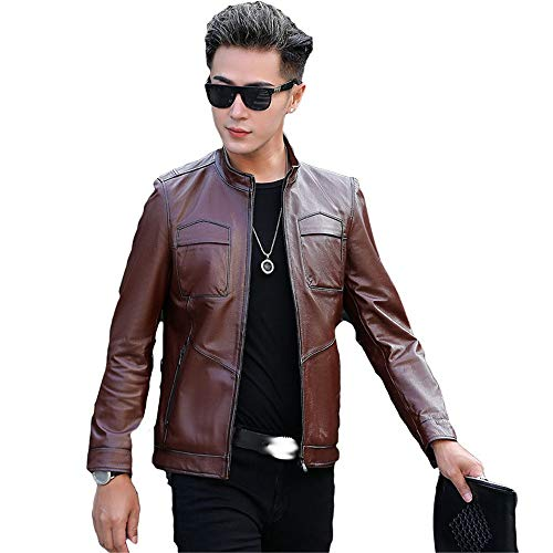 Chaqueta de cuero para hombre chaqueta de cuero delgada y guapo para motocicleta de cuero con cuello de pie, chaqueta elegante casual y de fiesta (color: marrón, tamaño: XL)