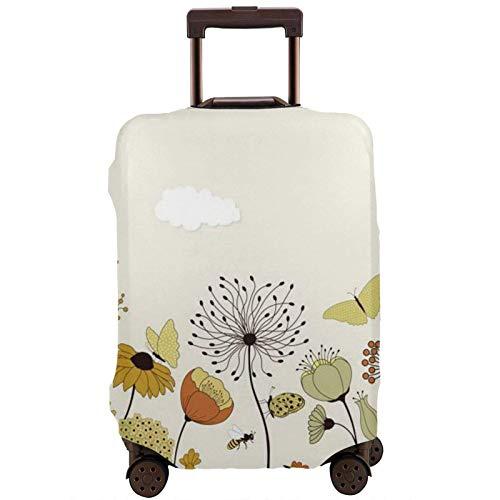 Funda elástica para equipaje de viaje con diseño de mariposas voladoras y flores, para maleta de 45 a 81 cm