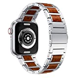 Anrir Compatible for Apple Watch 44mm 42mm Smart Watch, Red Sandalwood Wood and Silver Stainless Steel Replacement Wrist Strap Compatible with Apple Watch Series 4 3 2 1