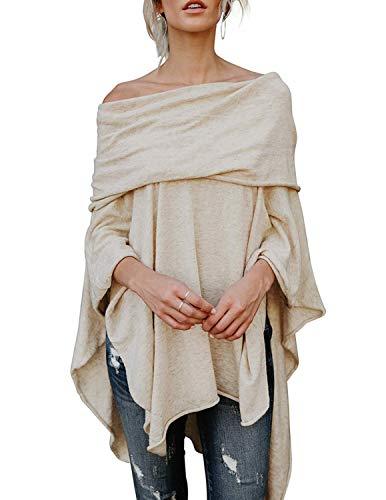 BUOYDM Donna Pullover Lungo Senza Maniche Oversize Sweatshirt Casual Irregolare Maglietta Tops Beige S