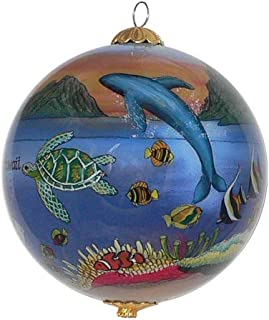 Collectible Hawaii Ornament Glass Hand Painted with Gift Box Showing a Magical Sunset Scene MS/H