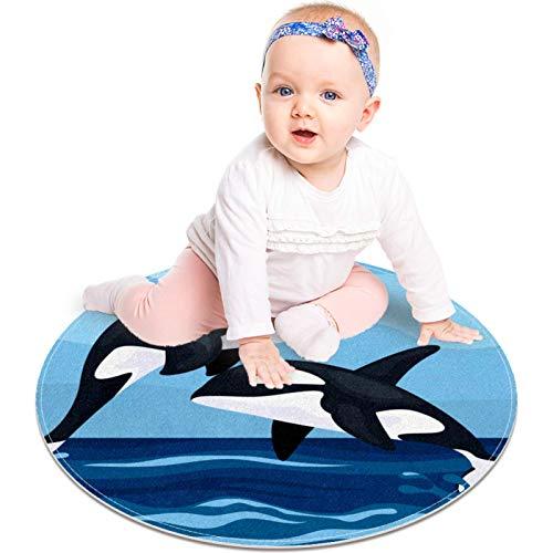 MUOOUM Lindo dos azules saltando asesino ballenas ronda alfombra redonda alfombra lavable suave absorbente sala de estar cocina alfombra baño alfombra