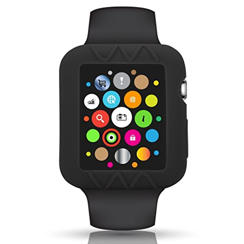 Rusty Bob - Apple watch caso | Custodia in silicone per Apple Osservare 1/2/3 | elastici | cover apple watch - Nero, 42 mm