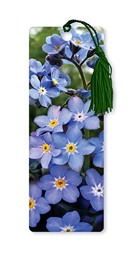Dimension 9 3D Lenticular Bookmark with Tassel, Purple Forget-Me-Not Flowers (LBM067)