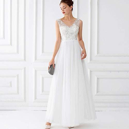 Applique Tule Mouwloze V-hals Lange Galajurken, Vintage Bruiloft Maxi Bruidsmeisjesjurk (Color : White, Size : L)