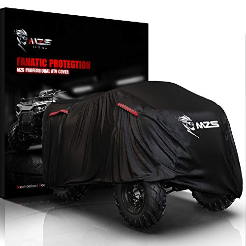 MZS ATV Cover - All Weather Outdoor Waterproof 210D Oxford Protection Accessories fits up to 76 inch Quad ATC 4 Wheeler Covers - Durable Tear Proof Vents Night Reflective Adjuster Buckle Storage Bag