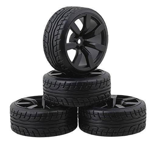 ShareGoo 4Pcs/Set Hard Plastic 26mm RC Drift Car Tires & Wheel Rims 12mm Hex Tyre for Traxxas HSP Tamiya HPI Kyosho 1/10 On-Road Drift Drifting RC Car