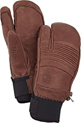 LEATHER: Cowhide INSULATED: Foam insulation and Bemberg polyester 5 Finger lining for warmth and quick dry FEATURES: Neoprene Cuff, Velcro Closure, Carabiner and Outseams SIZE: Use Hestra Size Guide to find your perfect fit