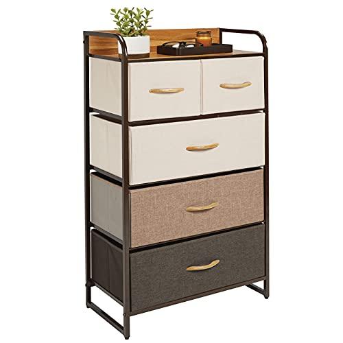 mDesign Cómoda para dormitorio con 5 cajones – Mueble con cajones alto para el salón, la habitación o el pasillo – Cajonera de metal, MDF y tela para guardar ropa – varios colores y marrón