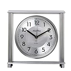 Mantel Clock Table Metal Desk Clocks Antique Quartz Chime Home Kitchen Decorative Mute Retro Room Ornaments Creative Gifts,Battery Powered (Color : Silver)