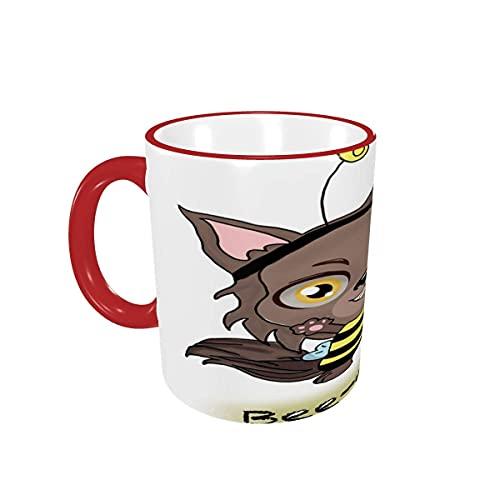 Taza de café Animal Bee were Wolf - Tazas de café para Halloween, Tazas de cerámica con Asas para Bebidas Calientes, café con Leche, té, Cacao, Taza de té, Regalos de café, 12 oz,Red