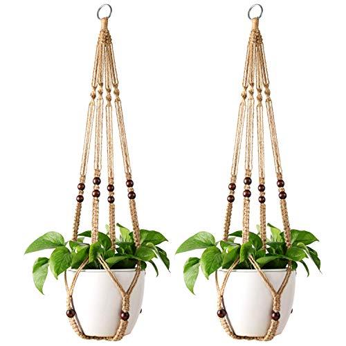 Mkouo 2 Stks Macrame Plant Hangers Indoor Opknoping Planter Mand Bloempot Houder Jute Touw met Kralen Geen Kwasten, 89cm