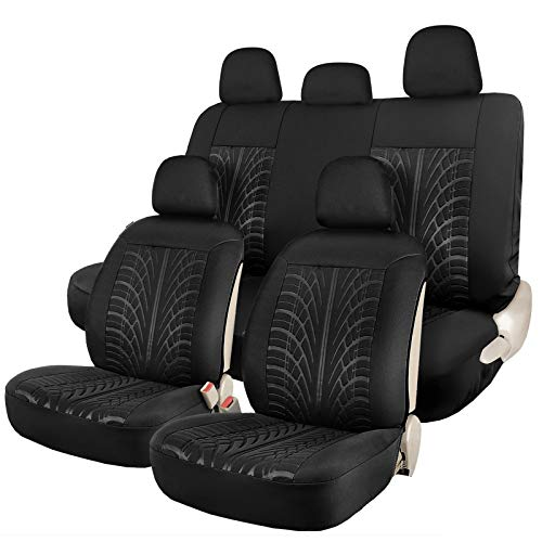 Leader Accessories Embossed Black Car Seat Covers Full Set - 2 Sideless Front Seat Cover, 5 Headrest Cover, 2 Rear Bench Seat Protector