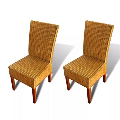 vidaXL 2X Sillas de Salón Comedor Asientos Sillones Muebles Mobiliario de Hogar de Poli Ratán Sintético Marrón con Asiento de Cojín Crema