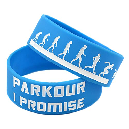 HSJ 2 Unids 1 Pulgada Correa Muñeca Los Deportes Parkour Parkour Pulsera Silicona I Prometo Colorear Logo Perfectamente Inspirar Fitness, Baloncesto, Ejercicio para Encontrar, Ejercicio Y Tareas,Azul