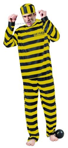 KULTFAKTOR GmbH Sträfling Kostüm Gefangener schwarz-gelb XL