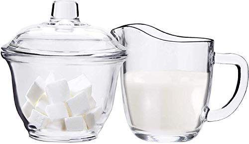 Glass Sugar Bowl with Lid and Creamer Dispenser Set for Coffee and Tea Clear Creamer Jug Sugar Jar Coffee Serving Set 3 pc set