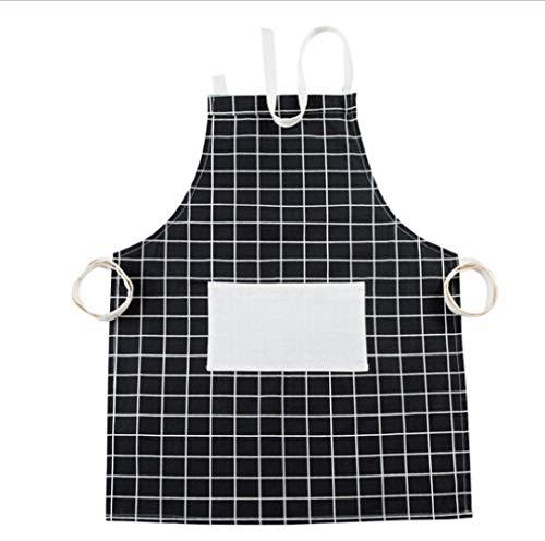 JJFU kookschort van merk mannen vrouwen solide koken keuken restaurant schort jurk met tas plaids print halster bandage schort zwart