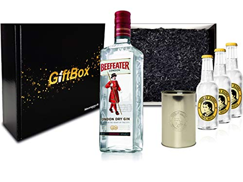 Gin Tonic Set Giftbox Geschenkset - Beefeater London Dry Gin 0,7l 700ml (47% Vol) + 3x Thomas Henry Tonic Water 200ml inkl. Pfand MEHRWEG + Becher -[Enthält Sulfite]