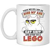 Yilooom Taza de café idea taza de té – 15 onzas, Take Me As I Am Kiss My Ass Cat