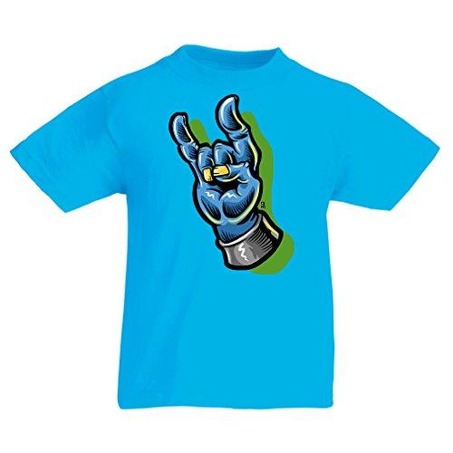Camisas para niños Zombie Mano A Rock and Roll símbolo, Signo de los Cuernos, Signo de Metal (7-8 Years Azul Claro Multicolor)