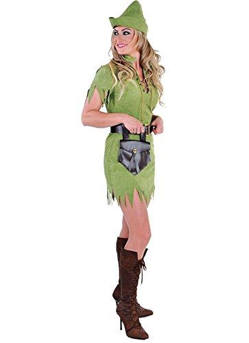 narrenkiste M212141-M - Disfraz de cazador con capucha para mujer, color verde, talla M