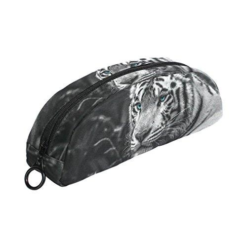 COOSUN Tiger Eyes - Estuche para lápices, semicircular, bolígrafo de papelería, estuche para maquillaje, bolsa de cosméticos para mujeres y niñas