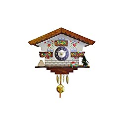Alexander Taron 0183QP Engstler Battery-Operated Clock - Mini Size with Music/Chimes - 5.75 H x 7 W x 3.25 D, Gray