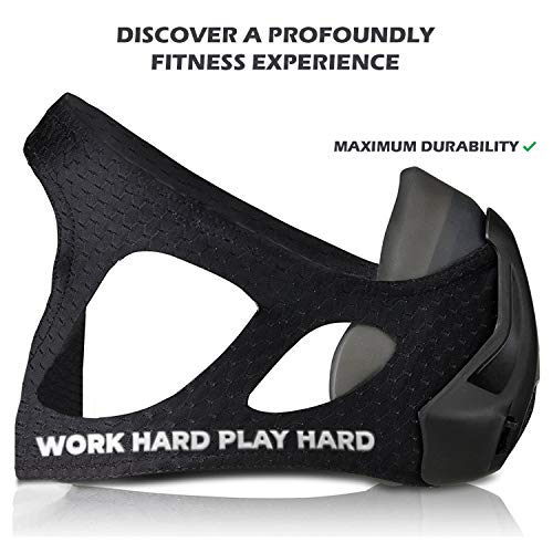 VO2MAX Training Mask - Workout High Altitude Elevation Simulation Oxygen Air - for Gym, Cardio, Fitness, Running, Endurance, Resistance and HIIT (Black)