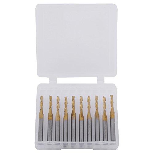 Molinillo de punta plana con revestimiento de titanio, doble filo, herramienta de fresado, fresadora CNC con caja de almacenamiento, 3.175 mm, vástago de 2 mm x 12 mm, 10 unidades