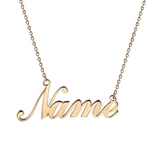 JewelryWe Schmuck Namenskette Damen Edelstahl Personalisierte Kette Halskette mit Name, Geschenk für Frauen, Freundin, Mutter, Schwester (Gold)