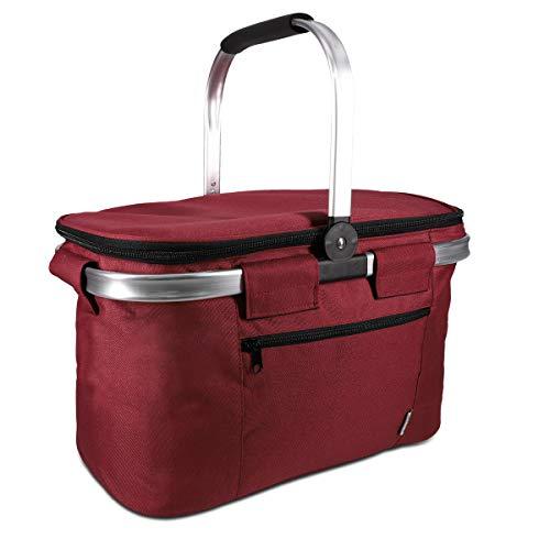 Navaris Thermo Einkaufskorb Kühltasche faltbar - 27L Kühlkorb Picknickkorb Isolier Korb - 43x26cm Einkaufstasche Coolerbag auslaufsicher in Rot