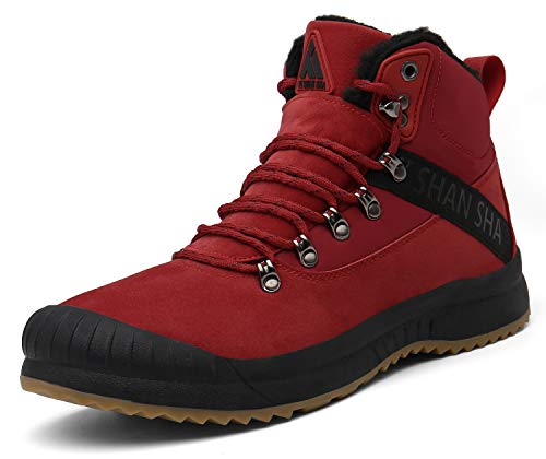 Mishansha Winterschuhe Herren Warm Gefüttert Boots Winter Männer Outdoor Schneestiefel rutschfest Arbeitsstiefel Rot Gr.46