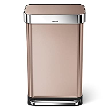 simplehuman 45 Liter/12 Gallon Stainless Steel Rectangular Kitchen Step Trash Can with Liner Pocket, Rose Gold Stainless Steel