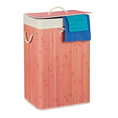 Relaxdays 10019053_113 Panier Bambou, Corbeille Linge Pliante, 83L, Sac intérieur Coton, 65,5 x 43,5 x 33,5 cm, Rose
