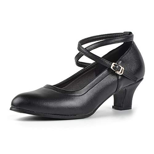 TINRYMX Zapatos de Baile Latino estándar para Mujer Punta Cerrada salón de Baile,Personaje Moderno,Tango, Salsa,Vestido de Fiesta Zapatos de Bomba, Negro, EU 38