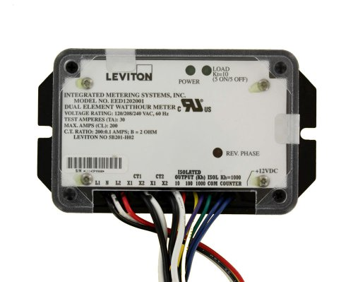 Leviton 5B201-H02 Epoxy Encapsulated Dual Element, CTs included, 1.0 kWh and 0.1 kWh Isolated Outputs and 1.0 kWh Counter Output, 200:0.1, Black