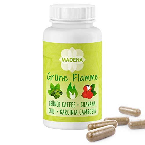 MADENA Grüne Flamme | vegan | Fatburner hochdosiert in Apothekenqualität zum Abnehmen | Grüner Kaffee Extrakt Guarana Glucomannan Garcinia Cambogia + Chilli Extrakt L-Carnitin 100 Kaps.